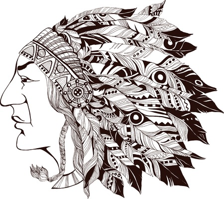 Grafic illustration of North American Indian chief .
