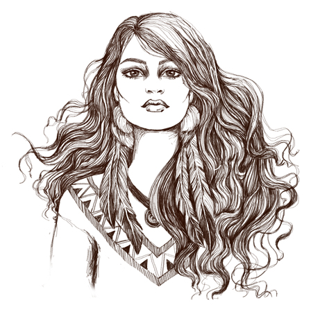 Sketch of tattoo art, portret of lovely American Indian girl. Banco de Imagens