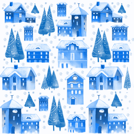 Christmas seamless pattern with old houses and christmas trees trees Imagens - 66354343