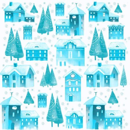 Christmas seamless pattern with old houses and christmas trees trees
