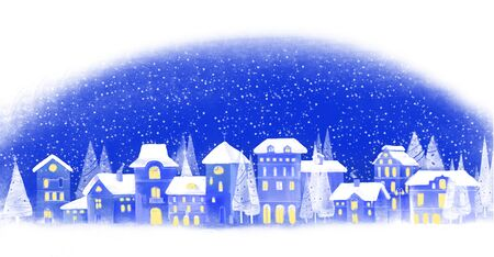 Illustration of christmas winter city 版權商用圖片 - 69108388