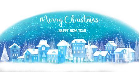 Illustration of christmas winter city 版權商用圖片 - 69108390