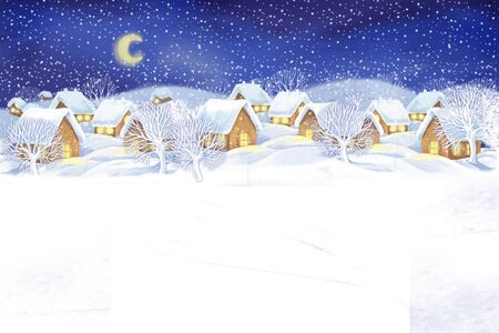 Christmas winter village landscape .Snowing
