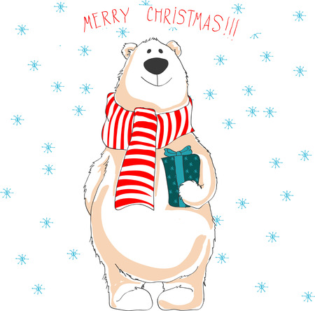 Christmas illustration of white bear