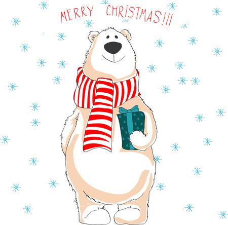 Christmas illustration of white bear