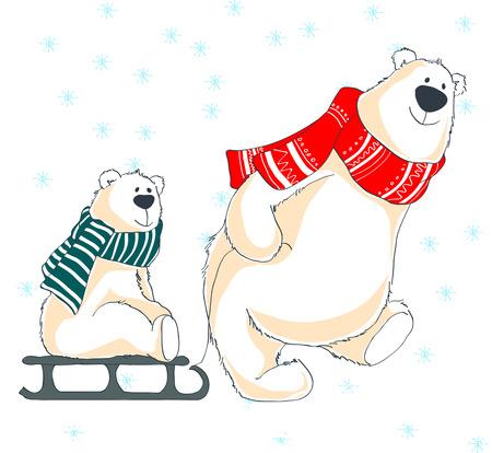 A bear father and bear cub on sledge. 版權商用圖片 - 68481033