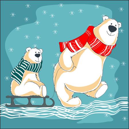 A bear father and bear cub on sledge.