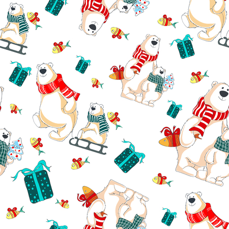 Pattern with polar bears, gifts and christmas tree Ilustração