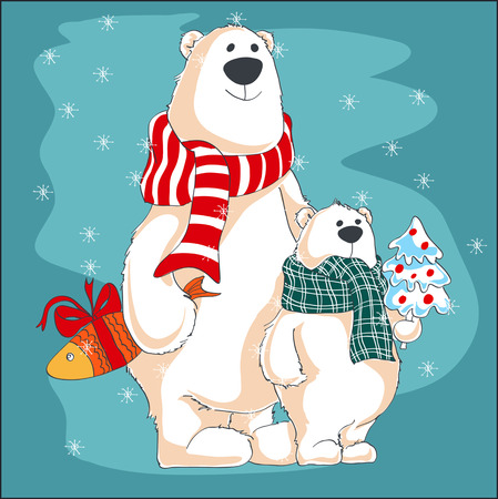 Two polar bears bring gifts for they friends