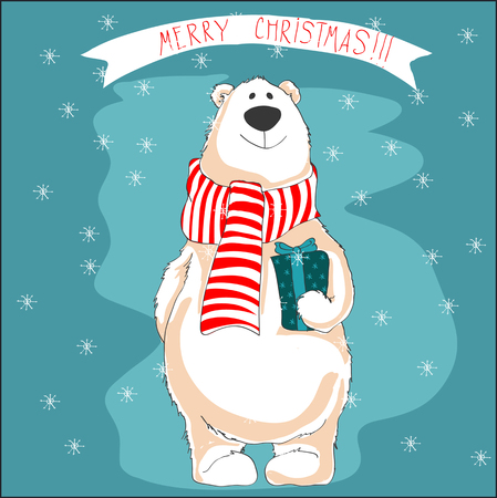 Christmas illustration of white bear on blue background.