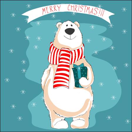 Christmas illustration of white bear on blue background. Imagens - 96624449
