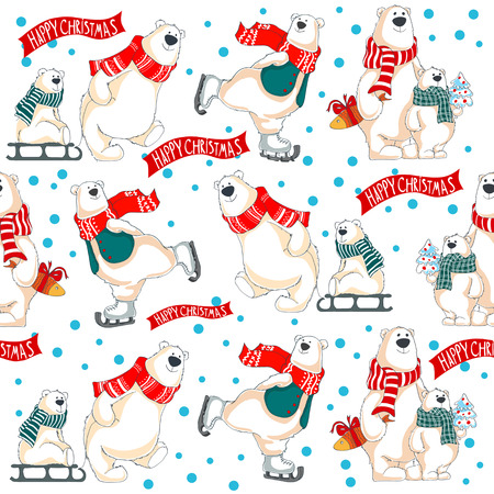 Pattern with polar bears, gifts and christmas tree 向量圖像
