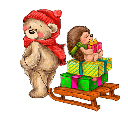 Cute bear carries the sledge with hedgehog and gifts