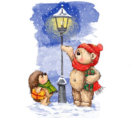 Teddy bear and hedgehog are carring gifts