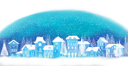 Illustration of christmas winter city