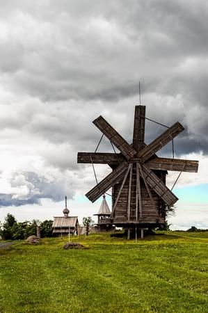 historic windmill for grinding flour in Kizhi on lake Onega