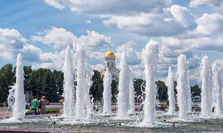 Moscow Poklonnaya Gora fountains with vertical jets of water Stock Photo