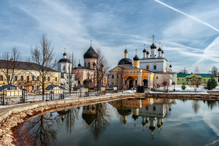 vintage Voznesenskaya Davidova Pustyn monastery Chekhov district of Russia, historical and cultural monument of history Standard-Bild