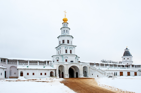 sobor: The new Jerusalem monastery Istra, Russia wall and the road to the bell tower in winter