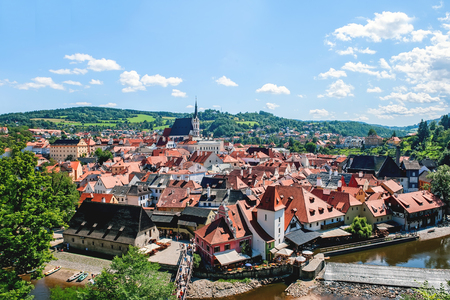 Beautiful view of cesky Krumlov with the Vltava river on a Sunny day. The horizontal frame.