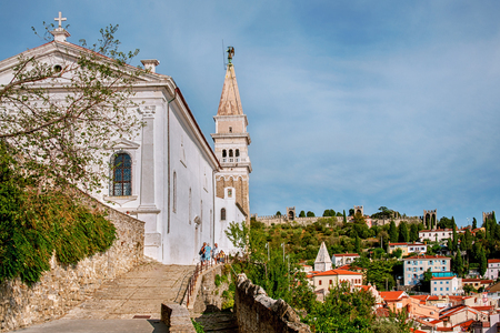 Parish Church of St. George in Piran in Slovenia. The road leading to the Church.