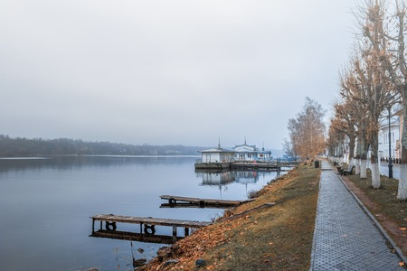 The ancient Russian town of Plyos on the Volga river in late autumn.