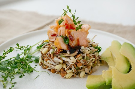 Salad of germinated seeds, trout and avocado. Macrobiotic food concept.