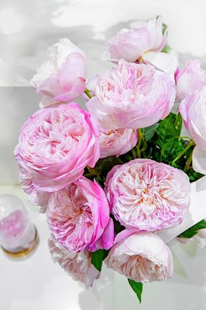 Exotische Rosen aus rosa modernen Elite-Sorten im Strauß als Geschenk.