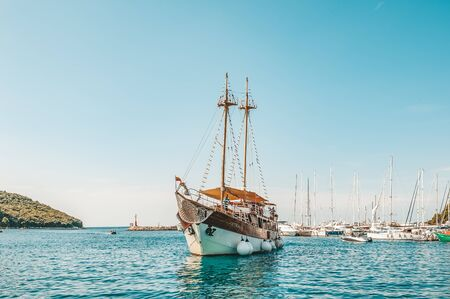 8. 28. 2018. Vrsar Croatia. A beautiful sailing ship for excursions comes to the port of the city of Vrsar.