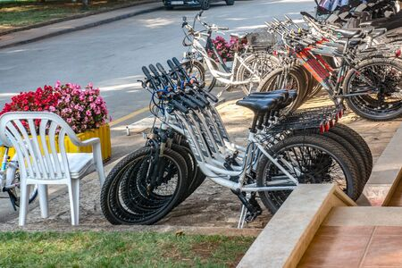 Porec, Croatia 29 August 2018: Bicycle Parking and bike rental in Porec in the open air summer .