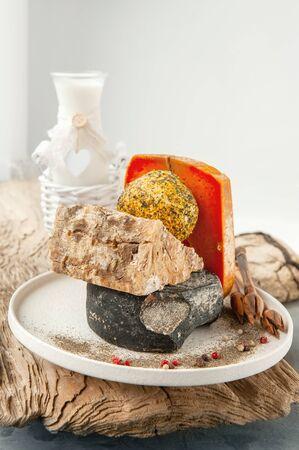 Delicatessen spicy cheeses of different varieties. Stok Fotoğraf
