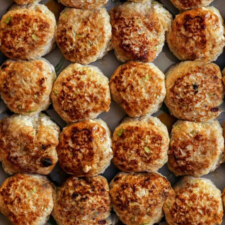 Small round meat balls close-up.