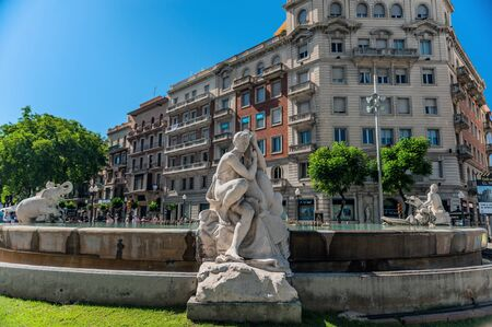 Tarragona, Spain-August 9, 2013: the fountain is decorated with sculptures depicting the four continents. Fountain of the century. The Attractions Of Tarragona, Catalonia. Stock Photo - 137609747