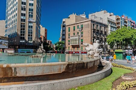 Tarragona, Spain-August 9, 2013: the fountain is decorated with sculptures depicting the four continents. Fountain of the century. The Attractions Of Tarragona, Catalonia. Editorial