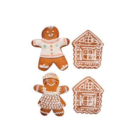 Christmas gingerbread cookies in the form of men and houses are covered with white sweet icing. Homemade holiday pastries. Isolated on a white background.