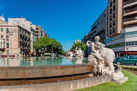 Tarragona, Spain-August 9, 2013: the fountain is decorated with sculptures depicting the four continents. Fountain of the century. The Attractions Of Tarragona, Catalonia