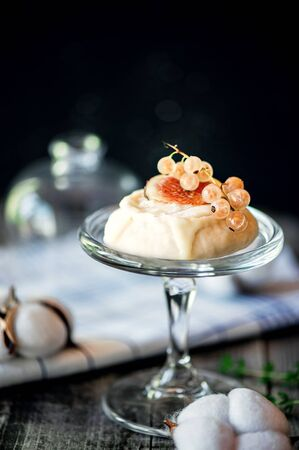 Delicious delicacy white soft round cheese with mold and currant berries and figs.