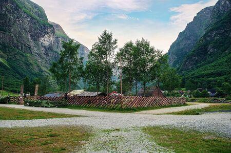 Fencing stylized traditional Norwegian Viking village.