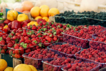 Blueberries, strawberries, raspberries and blackberries are prepared for sale at the farmers market. Fruits on the market counter are laid out in plastic containers. Fresh farm products Stock Photo