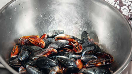 Fresh mussels in a metal bowl. Preparing for an outdoor seafood barbecue. Picnic of healthy food, mussels in shells. Selective focus. A lot of mussel shells lie in a large metal box
