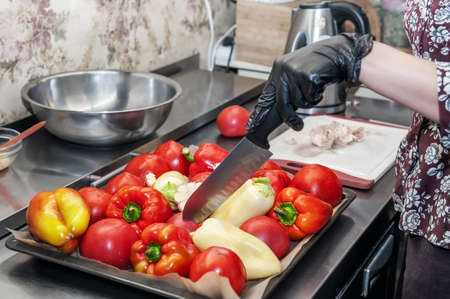 vegetables are ready to cook. Garlic, pepper and tomatoes are cut with a knife for proper baking. Cooking healthy food dishes from vegetables Archivio Fotografico