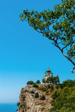 Church of the Resurrection of Christ in Foros, Crimea. Stunning view of the temple on a sheer cliff above the sea. Foto de archivo