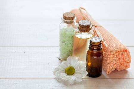Natural cosmetics with herbal ingredients: sea salt, oil and serum, close-up Stok Fotoğraf