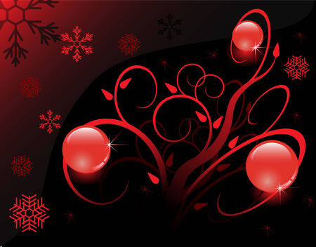 black background with red balls and snowflakes Illustration