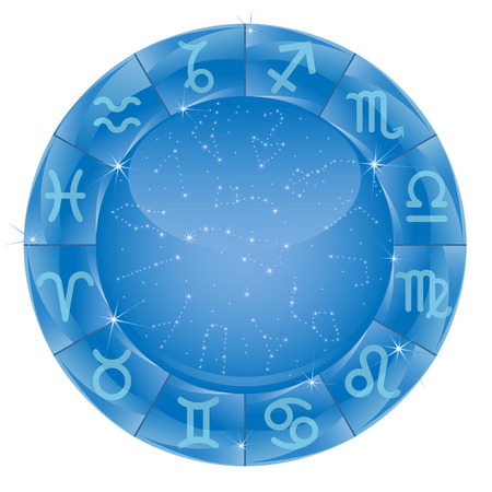 zodiacal circle with horoscope sign on the blue background Illustration