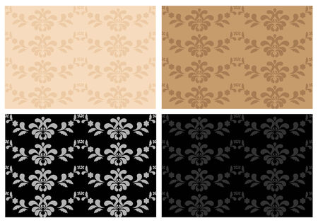 Four seamless wallpaper with floral pattern Illustration