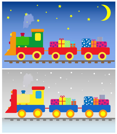 two toy trains with presents Illustration