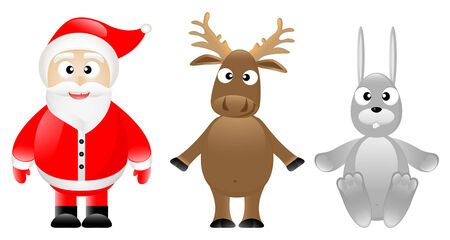 Smiling Santa Claus with caribou and rabbit