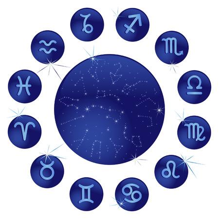 Virgo: Signos zodiacales en los c�rculos azules Vectores