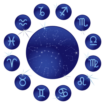 Zodiacal signs in the blue circles Vector